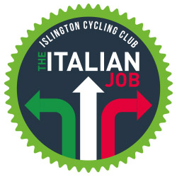 Round logo Islington Cycling Club - The Italian Job with three arrows green, white and red