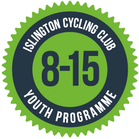 Round logo in green and grey says Islington Cycling Club Youth Programme 8-15